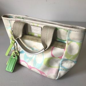 Coach Handbag Purse White with Multicolor Accents